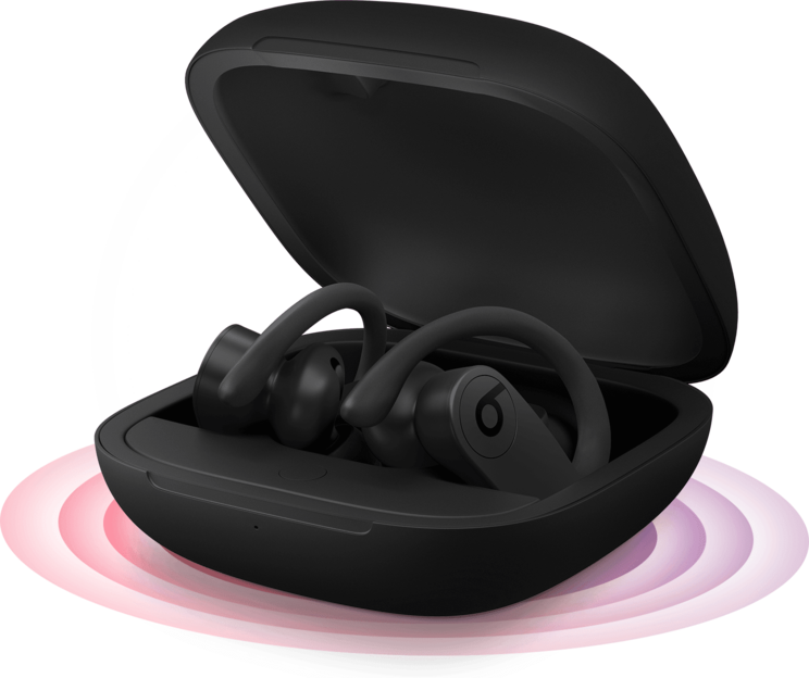 Powerbeats Pro in open charging case with illustration indicating pairing mode activated